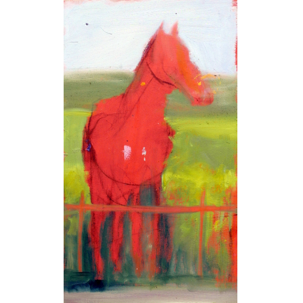 sketch on orange: Horses looking at walls they could easily jump over