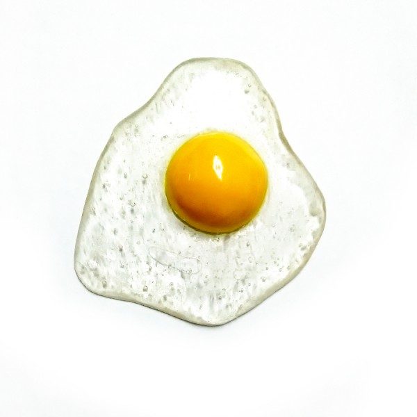 Yellow Wall Egg, resin, air-dry clay, enamel, ~12cm