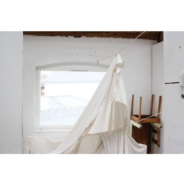 studio with bedsheets